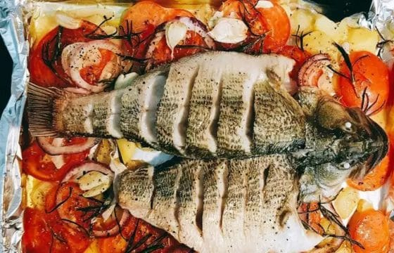 橄榄油烤鲈鱼